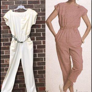 Vintage clothing Vintage 80s Black and White One Shoulder Jumpsuit Ladies Jumpsuit UK 1214 80s clothing